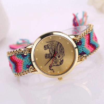 reloj correa tejida elefante mujer