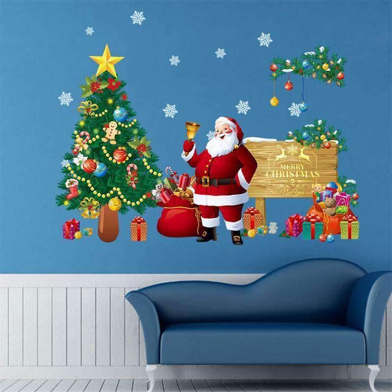 vinilo decorativo arbol de navidad santa