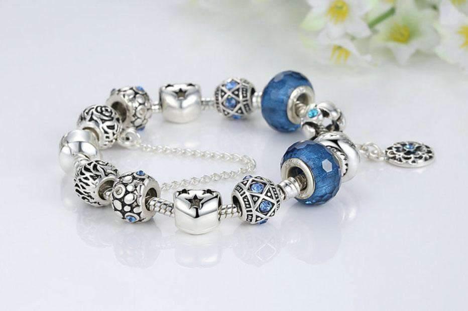 pulsera mujer plata azul