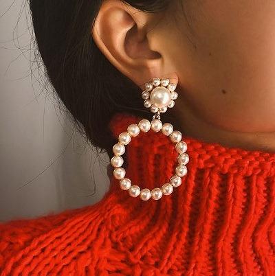 aretes de perlas grande