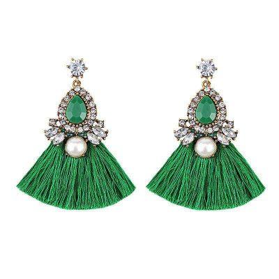 aretes de moda largos flecos verde